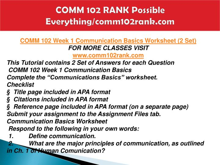 COMM 102 RANK Possible Everything/comm102rank.com