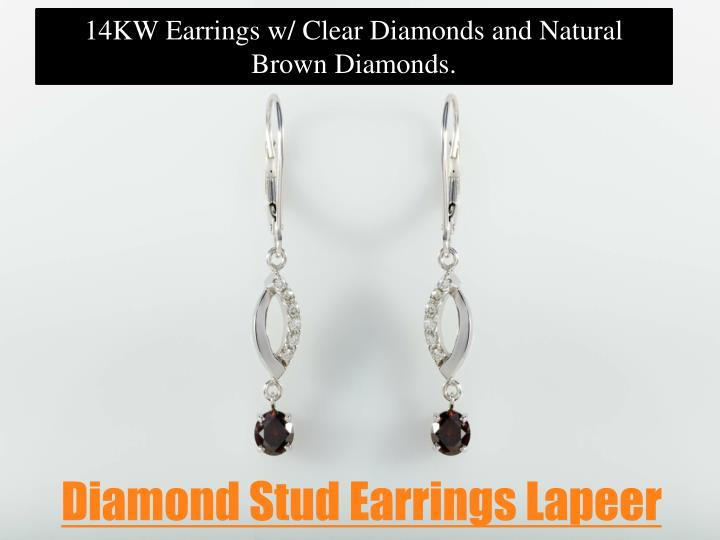 14KW Earrings w/ Clear Diamonds and Natural Brown Diamonds.