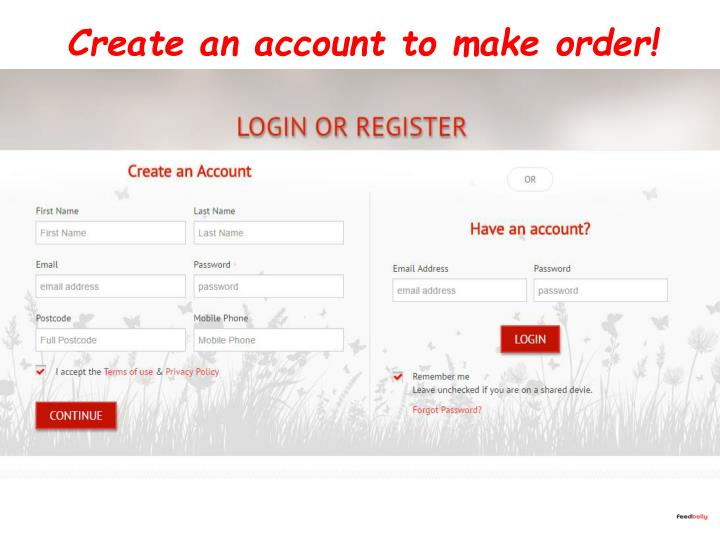 Create an account to make order!