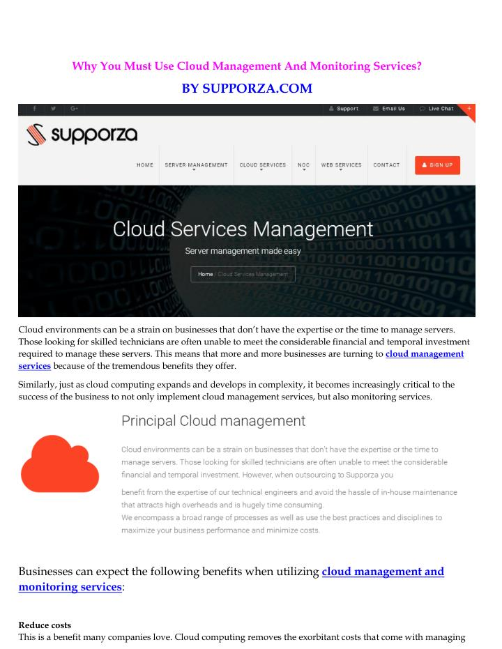 Why You Must Use Cloud Management And Monitoring Services?