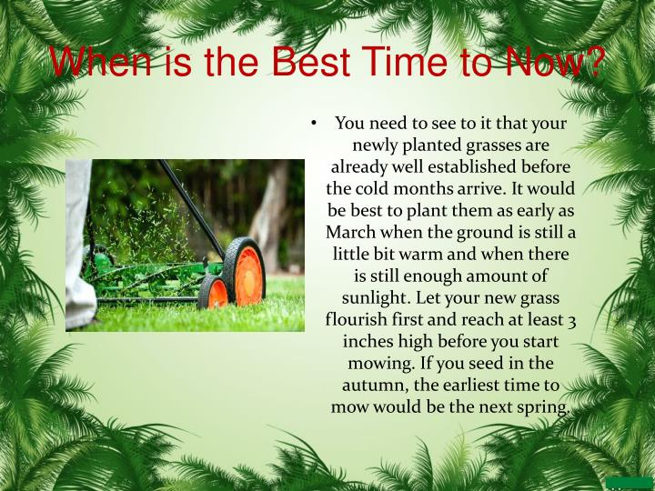 When is the Best Time to Now?