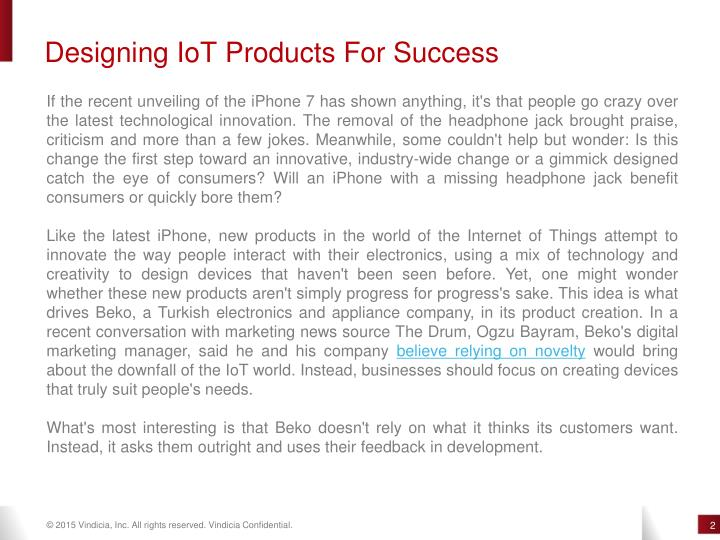 Designing IoT Products For Success