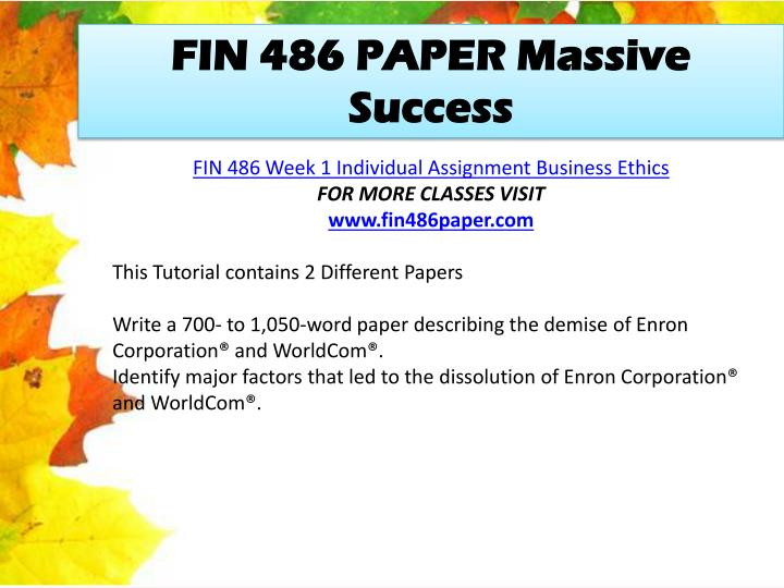FIN 486 PAPER Massive Success
