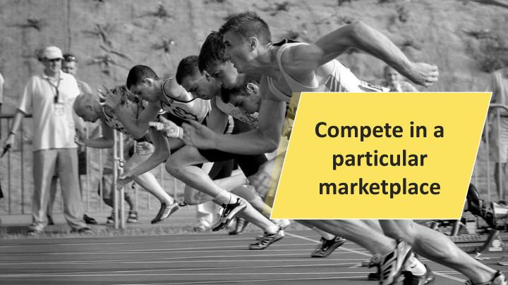 Compete in a particular marketplace
