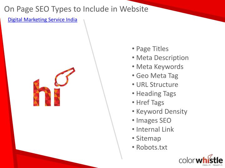 On page seo types to include in website