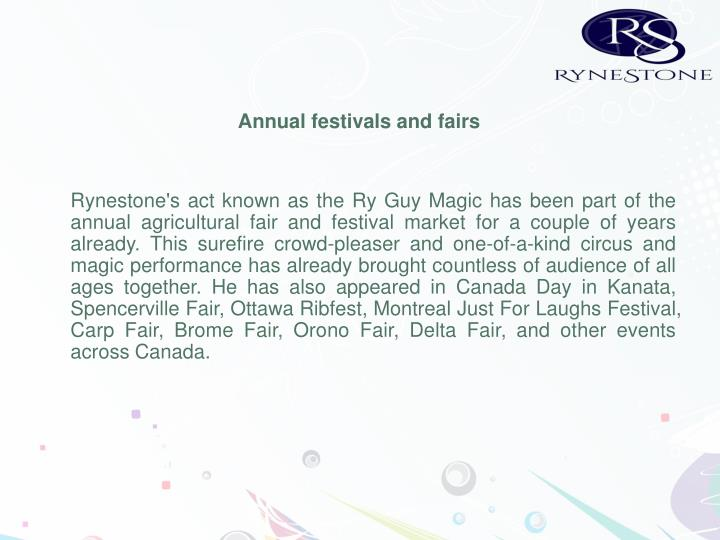 Annual festivals and fairs