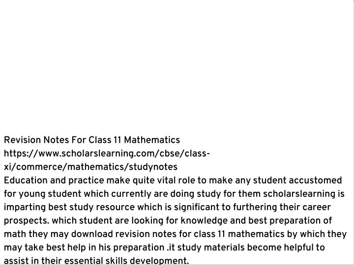Revision Notes For Class 11 Mathematics