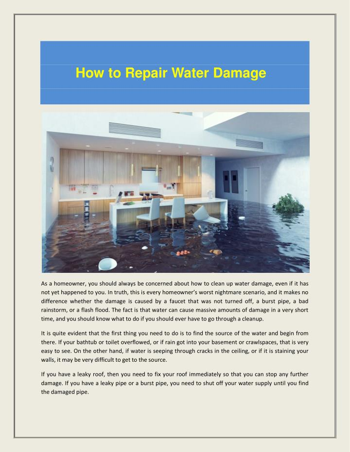 How to Repair Water Damage