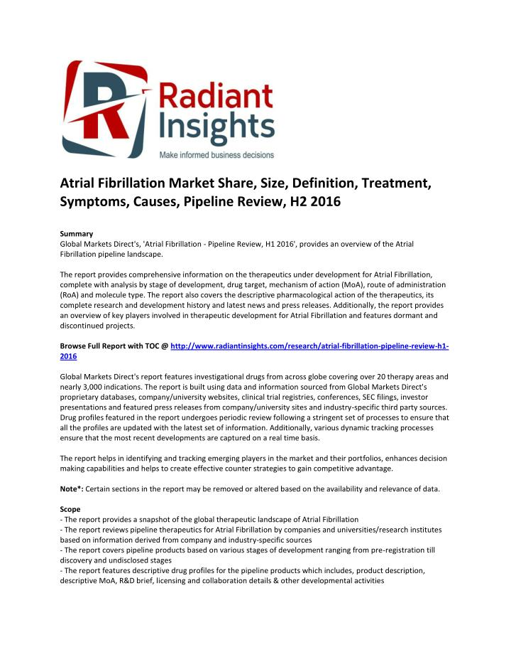 Atrial Fibrillation Market Share, Size, Definition, Treatment,