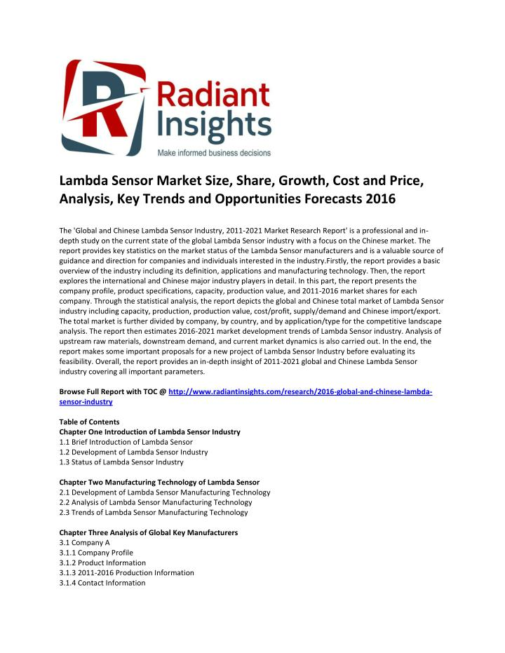 Lambda Sensor Market Size, Share, Growth, Cost and Price,