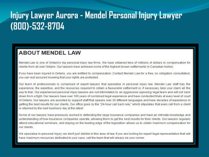 Injury Lawyer Aurora - Mendel Personal Injury Lawyer (800)-532-8704