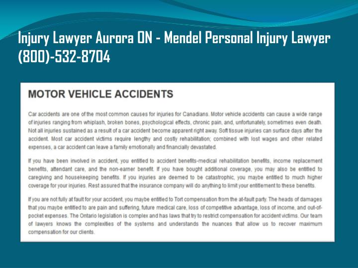 Injury Lawyer Aurora ON - Mendel Personal Injury Lawyer (800)-532-8704
