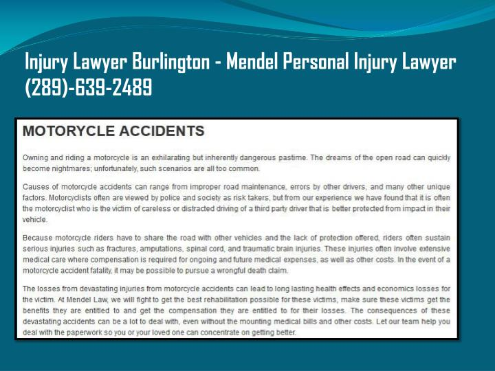 Injury lawyer burlington mendel personal injury lawyer 289 639 2489