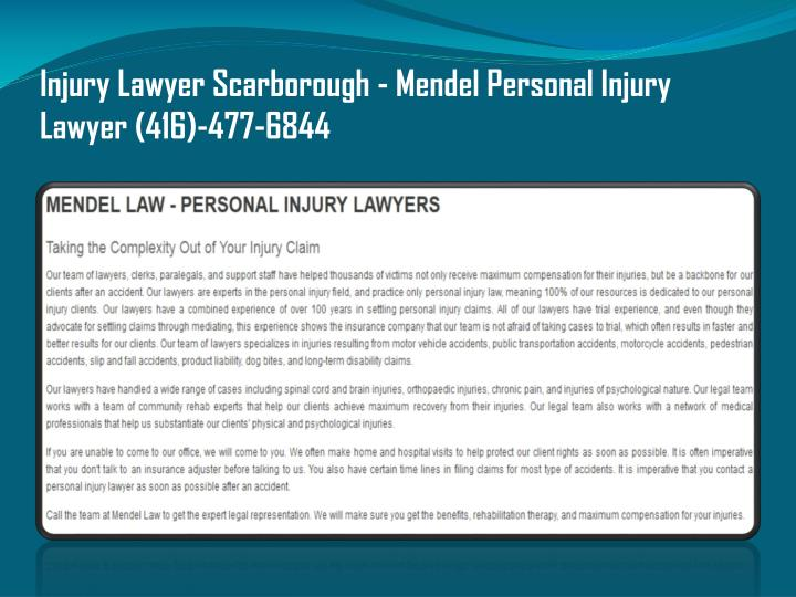 Injury Lawyer Scarborough - Mendel Personal Injury Lawyer (416)-477-6844
