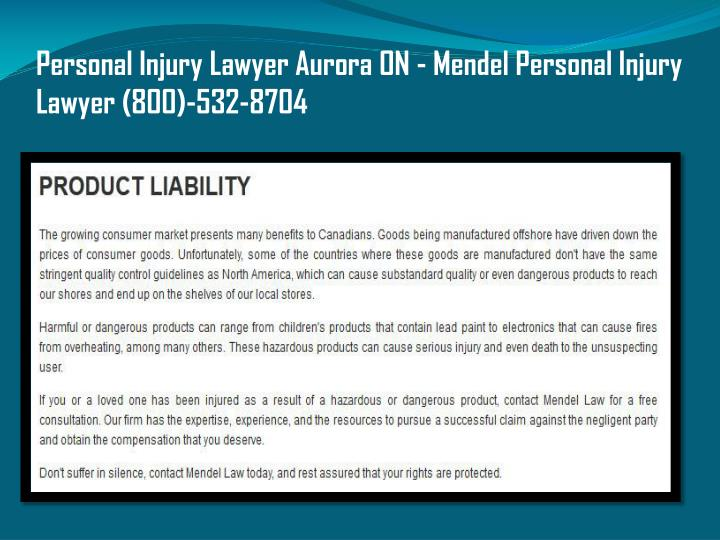 Personal Injury Lawyer Aurora ON - Mendel Personal Injury Lawyer (800)-532-8704