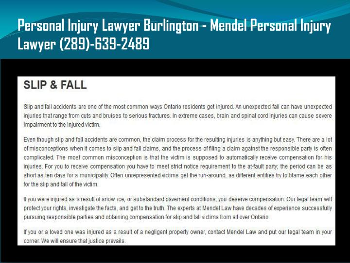 Personal Injury Lawyer Burlington - Mendel Personal Injury Lawyer (289)-639-2489