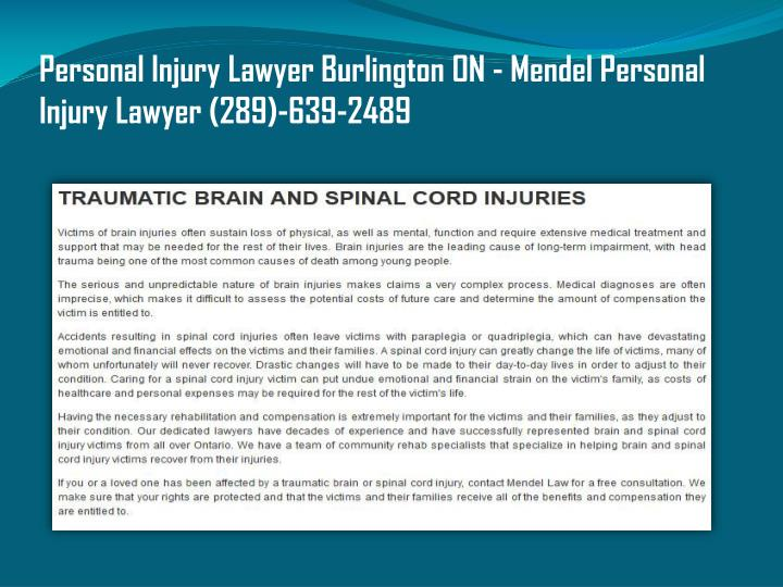Personal Injury Lawyer Burlington ON - Mendel Personal Injury Lawyer (289)-639-2489