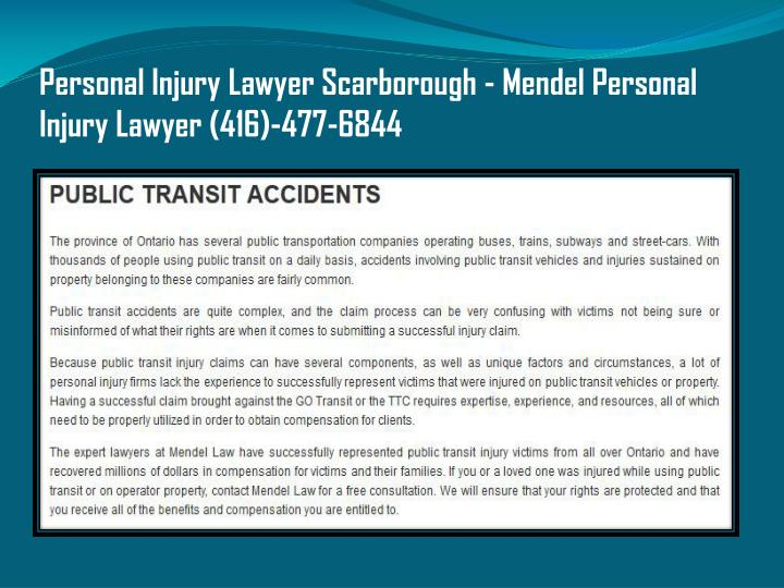 Personal Injury Lawyer Scarborough - Mendel Personal Injury Lawyer (416)-477-6844