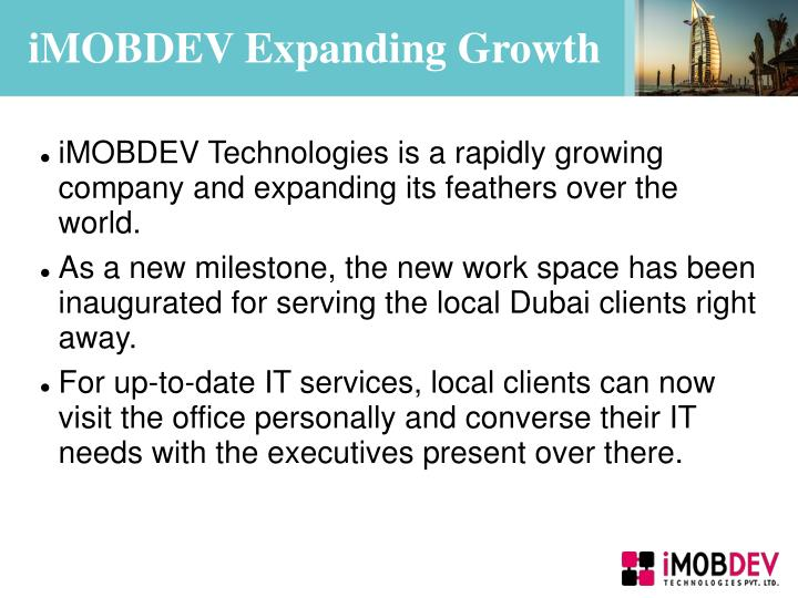 iMOBDEV Expanding Growth