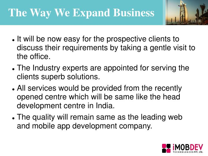 The Way We Expand Business