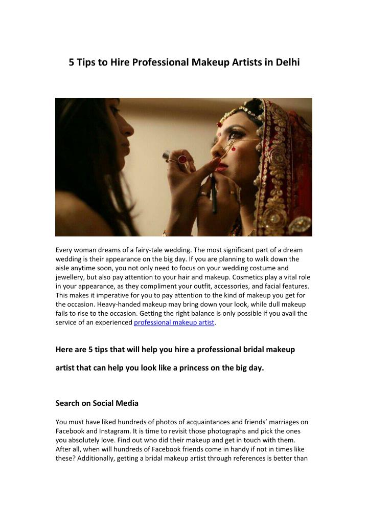5 Tips to Hire Professional Makeup Artists in Delhi