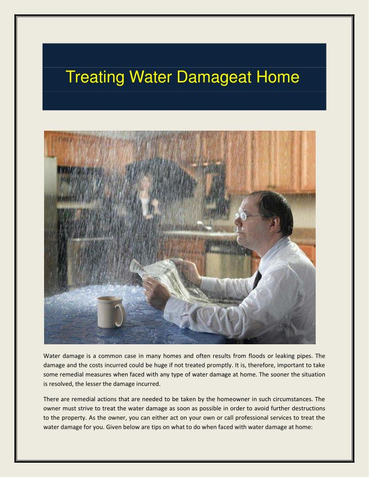 Treating Water Damageat Home