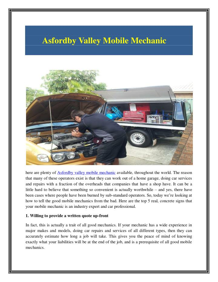 Asfordby Valley Mobile Mechanic