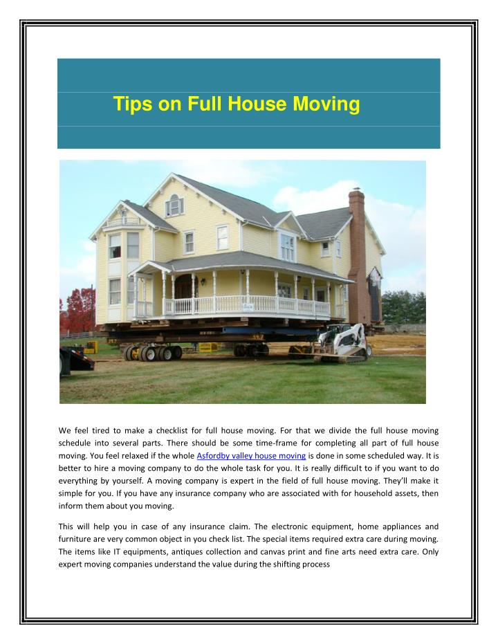 Tips on Full House Moving