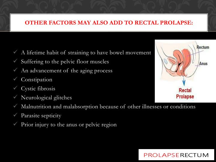 Other factors may also add to rectal prolapse: