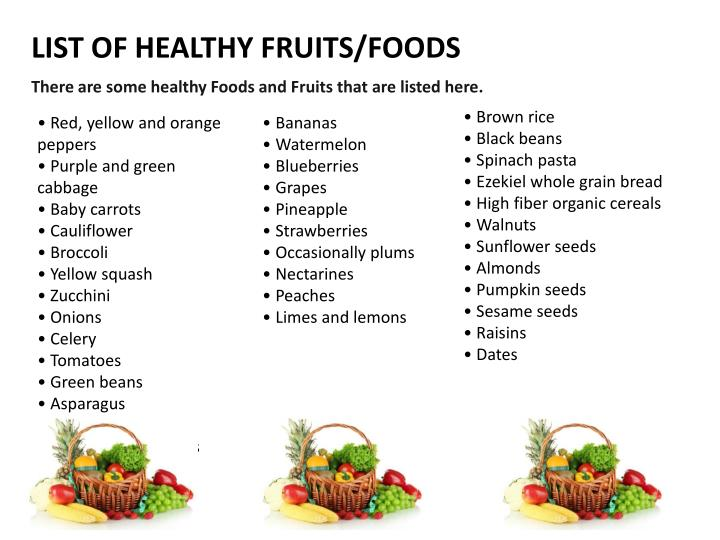 LIST OF HEALTHY FRUITS/FOODS