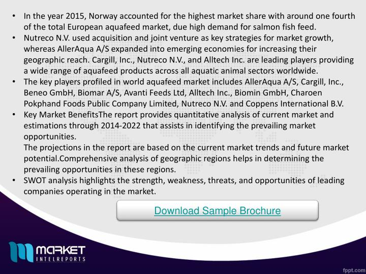 In the year 2015, Norway accounted for the highest market share with around one fourth of the total European aquafeed market, due high demand for salmon fish feed.