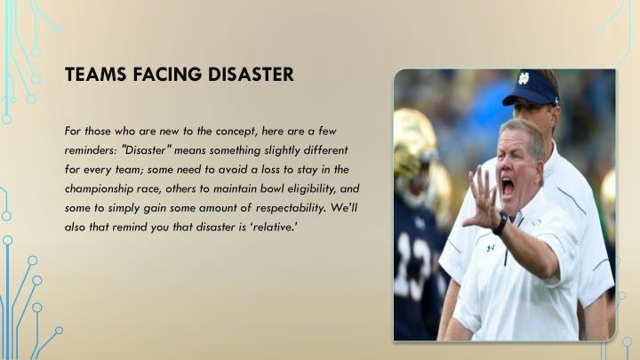 Teams Facing Disaster