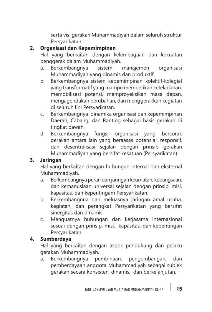 serta visi gerakan Muhammadiyah dalam seluruh struktur