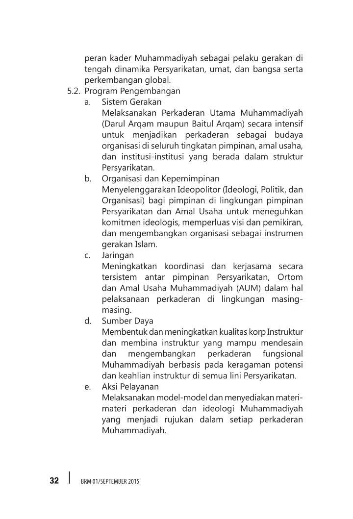 peran kader Muhammadiyah sebagai pelaku gerakan di