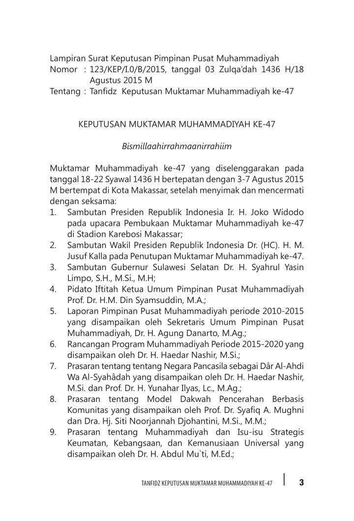 Lampiran Surat Keputusan Pimpinan Pusat Muhammadiyah