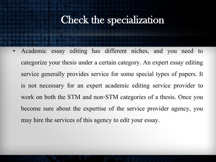 Check the specialization