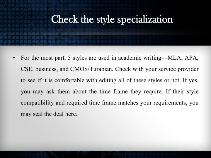 Check the style specialization