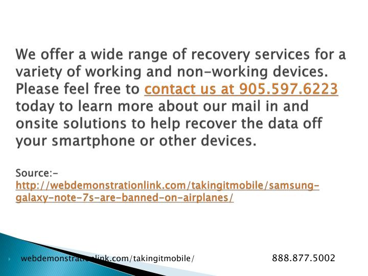 We offer a wide range of recovery services for a variety of working and non-working devices. Please feel free to