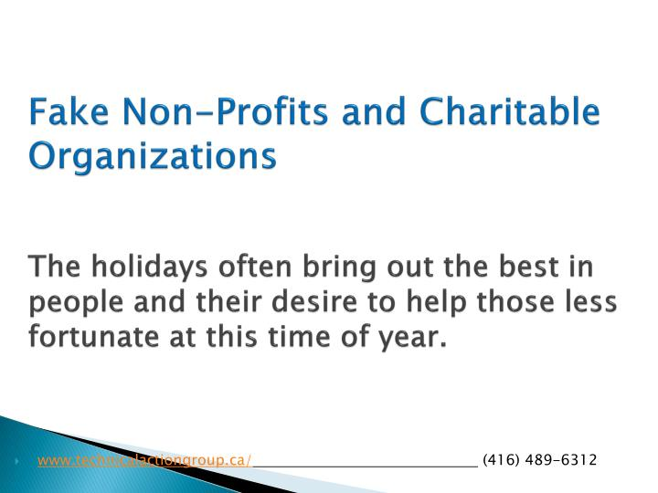 Fake Non-Profits and Charitable Organizations