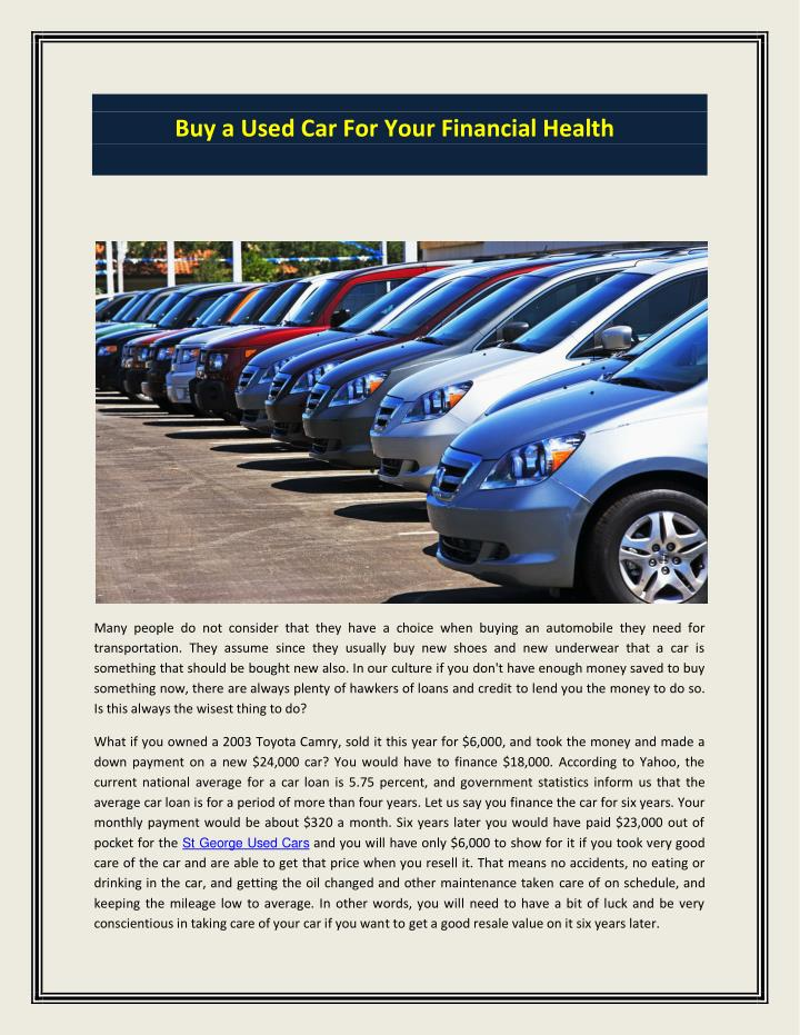 Buy a Used Car For Your Financial Health