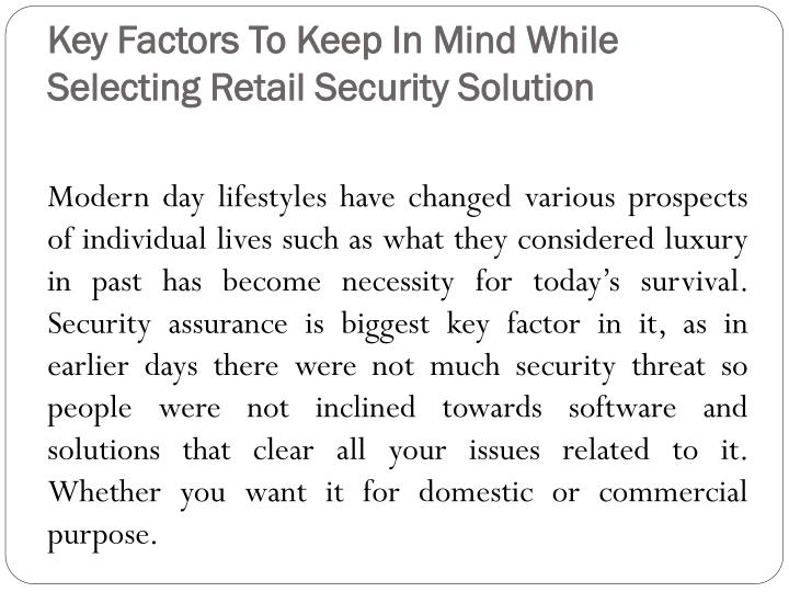 Key Factors To Keep In Mind While Selecting Retail Security Solution