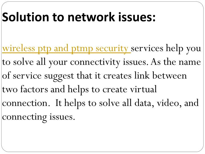 Solution to network issues: