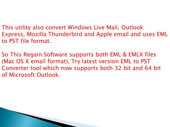 This utility also convert Windows Live Mail, Outlook Express, Mozilla Thunderbird and Apple email an...