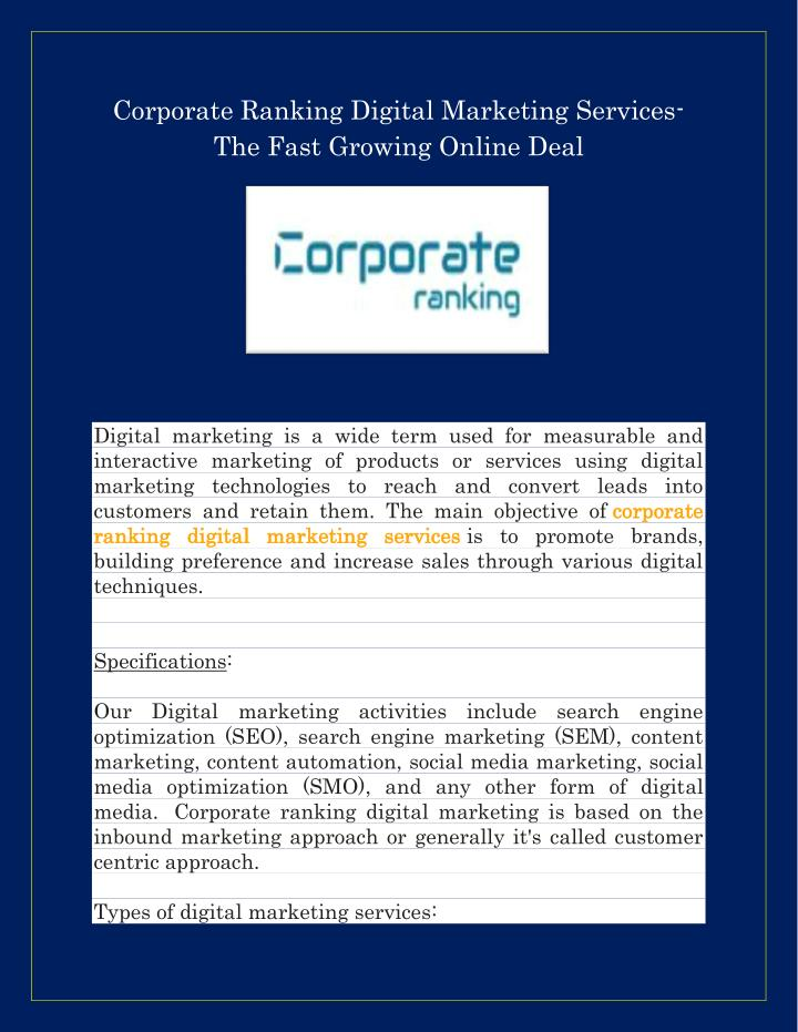 Corporate Ranking Digital Marketing Services-