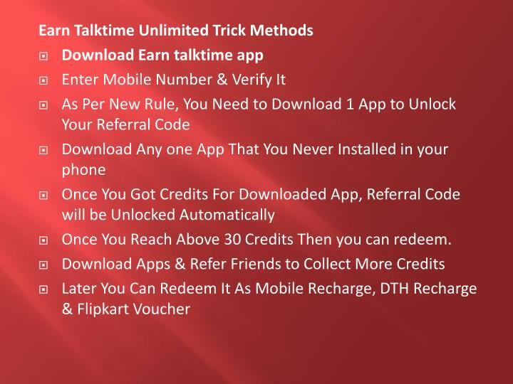 Earn Talktime Unlimited Trick