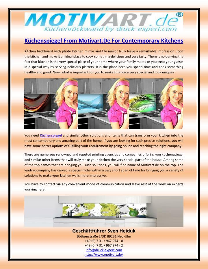 Küchenspiegel From Motivart.De For Contemporary Kitchens