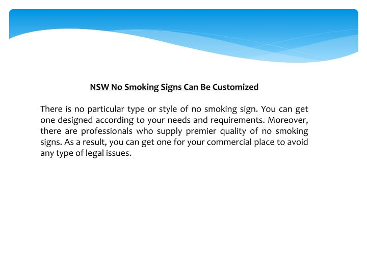NSW No Smoking Signs Can Be