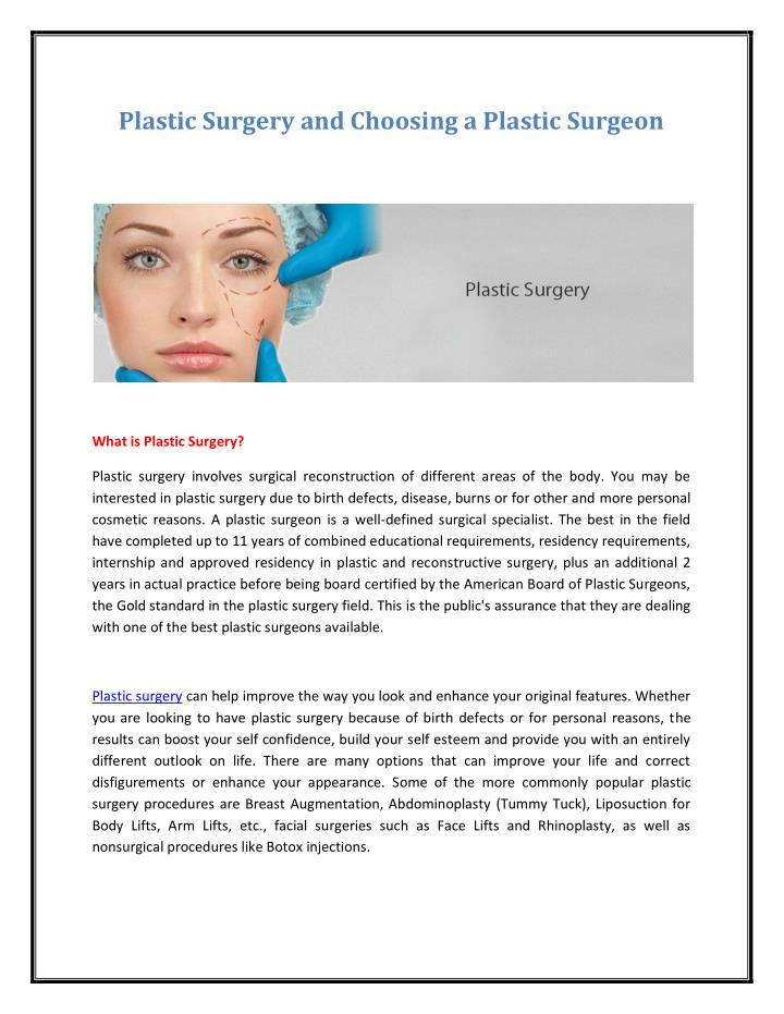 Plastic Surgery and Choosing a Plastic Surgeon
