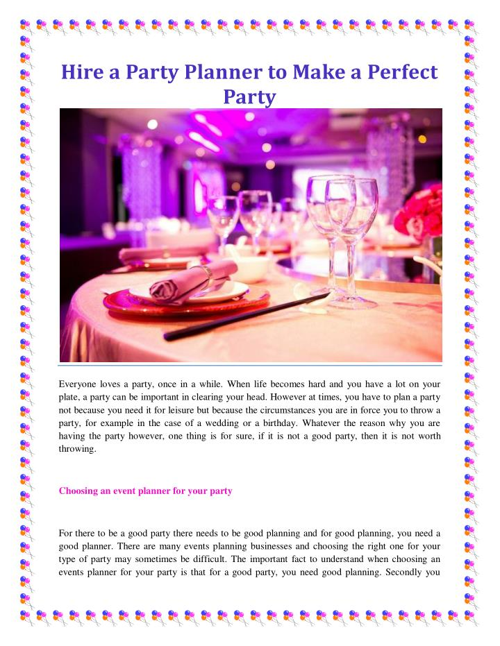 Hire a Party Planner to Make a Perfect
