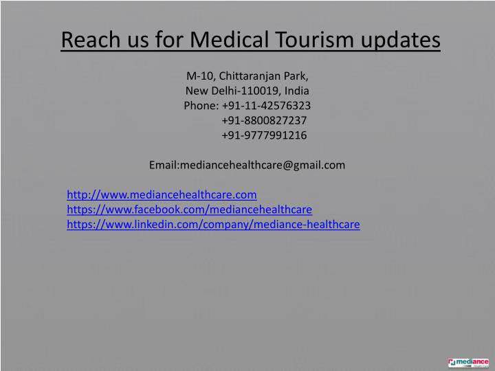 Reach us for Medical Tourism updates